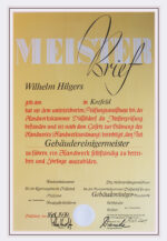 Wilhelm Hilgers Meisterbrief